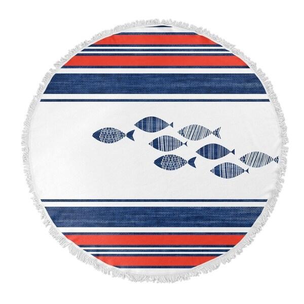 "Kavka Designs Fish Blue/ Red 60""X60"" Round Beach Towel"