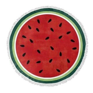 "Kavka Designs Watermelon Red/ Green 60""X60"" Round Beach Towel"