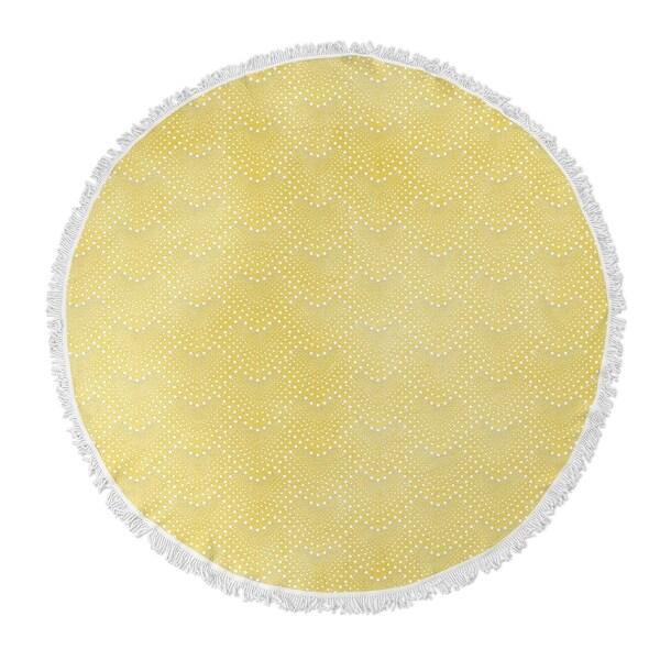 """Kavka Designs Yellow Sherbet Yellow 60""""X60"""" Round Beach Towel"""