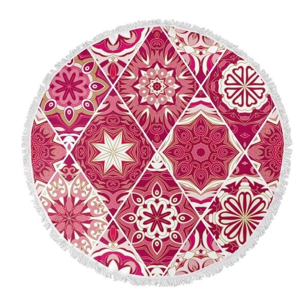 """Kavka Designs Flower Child Pink 60""""X60"""" Round Beach Towel"""