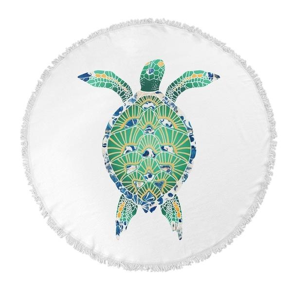 "Kavka Designs Turtle Blue/ Green/ Yellow 60""X60"" Round Beach Towel"