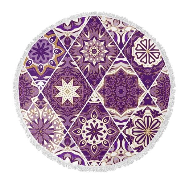 """Kavka Designs Flower Child Purple 60""""X60"""" Round Beach Towel"""