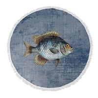 "Kavka Designs Fish Blue/ Gold/ Brown 60""X60"" Round Beach Towel"