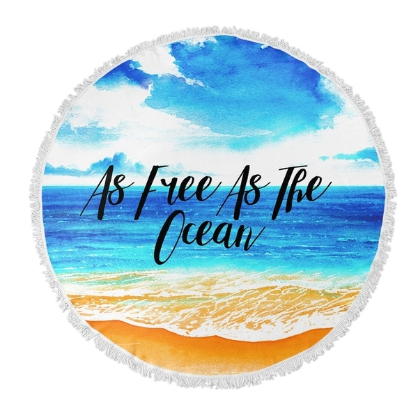"Kavka Designs Free As The Ocean Blue/ Orange 60""X60"" Round Beach Towel"
