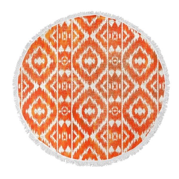 "Kavka Designs Cilia Ornge Orange/ White 60""X60"" Round Beach Towel"