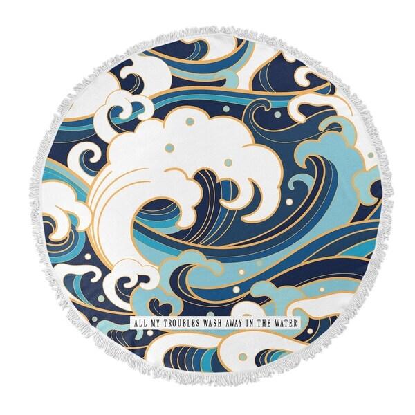 "Kavka Designs Troubles Wash Away Blue/ Gold/ White 60""X60"" Round Beach Towel"