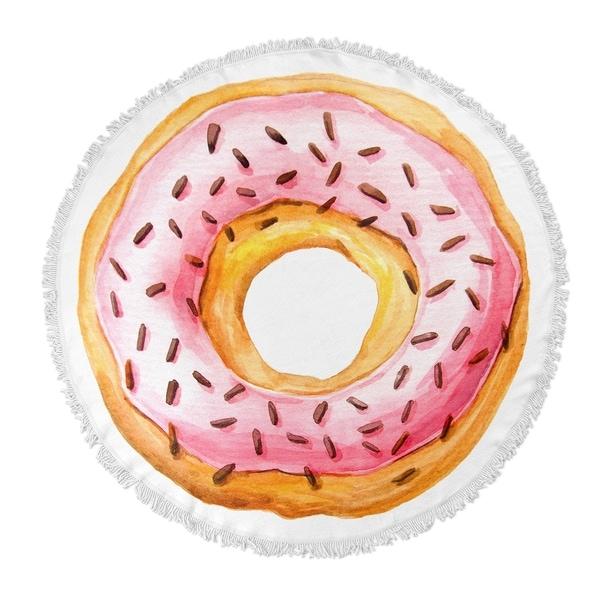 "Kavka Designs Donut Pink/ Tan 60""X60"" Round Beach Towel"