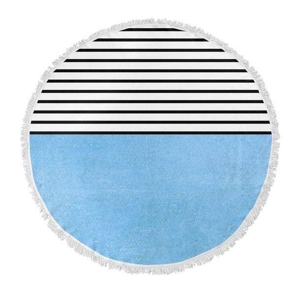"Kavka Designs Sunshine Blue/ Black/ White 60""X60"" Round Beach Towel"