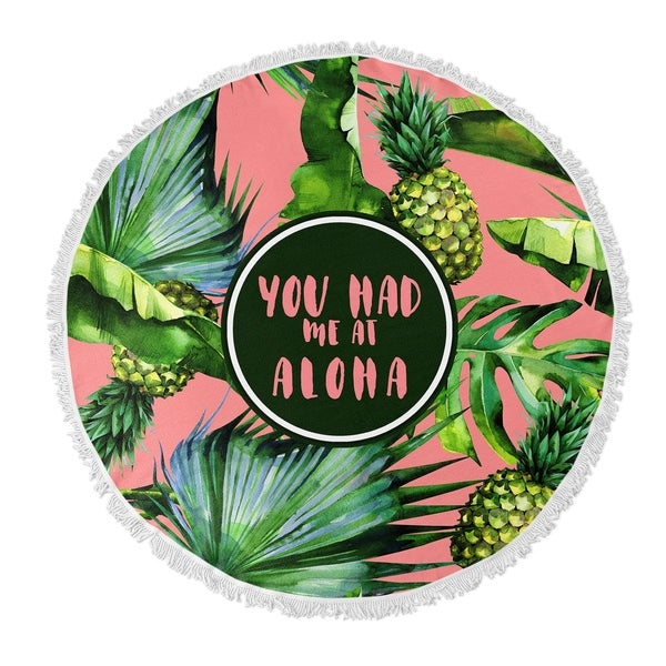 "Kavka Designs Aloha Pink/ Green/ Blue 60""X60"" Round Beach Towel"