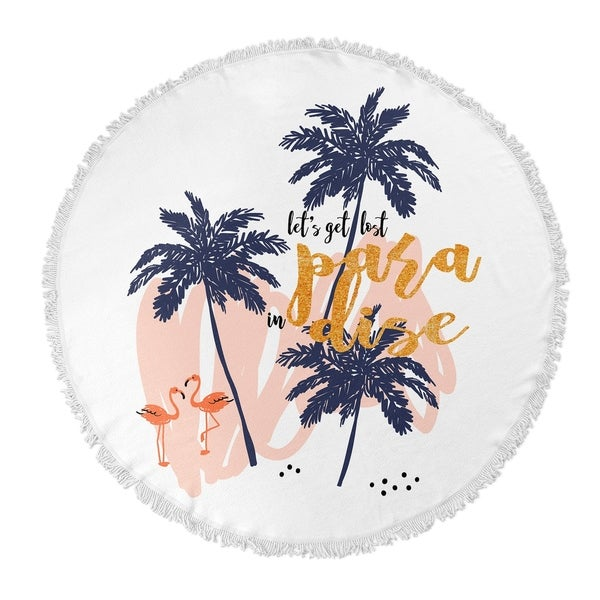 "Kavka Designs Lost In Paradise Blue/ Pink/ Gold 60""X60"" Round Beach Towel"