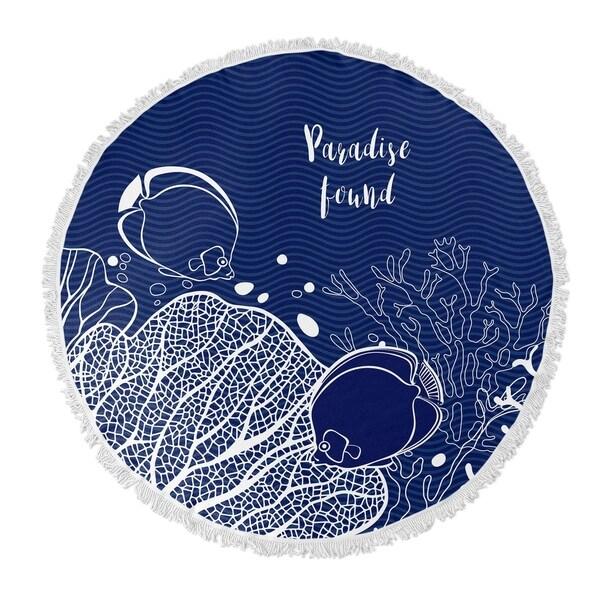 "Kavka Designs Paradise Found Blue/ White 60""X60"" Round Beach Towel"