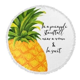 "Kavka Designs Be Sweet Orange/ Green/ Yellow 60""X60"" Round Beach Towel"
