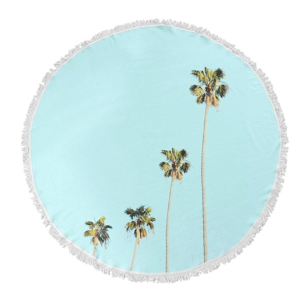 "Kavka Designs Four Palms Blue/ Green/ Tan 60""X60"" Round Beach Towel"