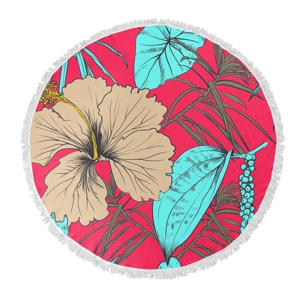"Kavka Designs Tropical Blossom Pink/ Blue/ Green/ Beige 60""X60"" Round Beach Towel"