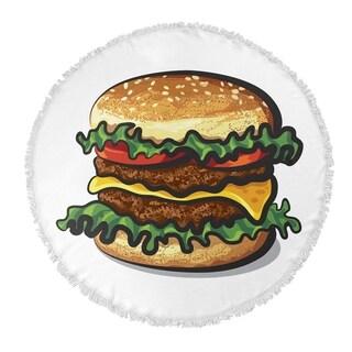 "Kavka Designs Burger Brown/ Red/ Green 60""X60"" Round Beach Towel"