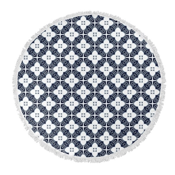 "Kavka Designs Amara Blue/ White 60""X60"" Round Beach Towel"