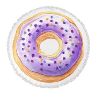 "Kavka Designs Donut Purple/ Tan 60""X60"" Round Beach Towel"