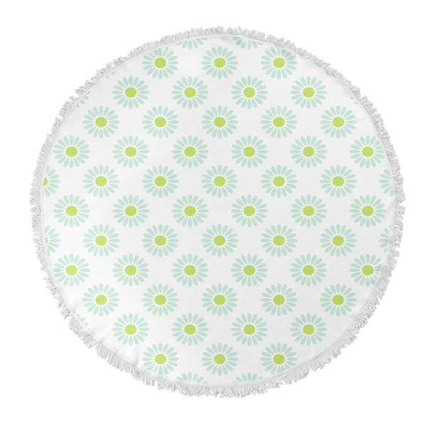 "Kavka Designs Izzy Green/ Blue 60""X60"" Round Beach Towel"