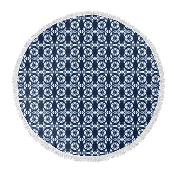 "Kavka Designs Hanno Blue 60""X60"" Round Beach Towel"