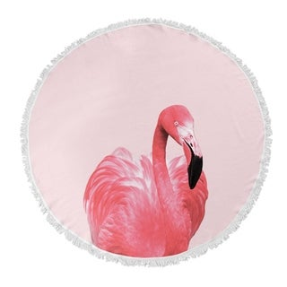 "Kavka Designs Flamingo Pink/ Black 60""X60"" Round Beach Towel"