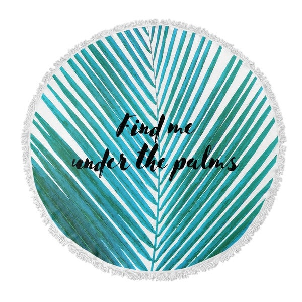 "Kavka Designs Under The Palms Blue/ White 60""X60"" Round Beach Towel"