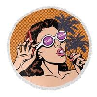 """Kavka Designs Summer Orange/ Pink/ Purple 60""""X60"""" Round Beach Towel"""