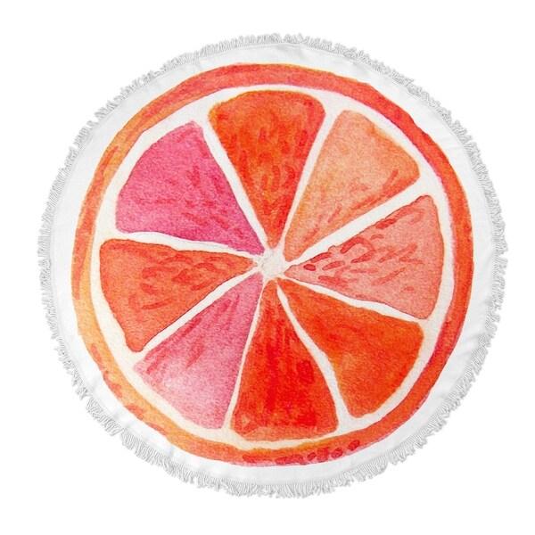 """Kavka Designs Orange Orange 60""""X60"""" Round Beach Towel"""