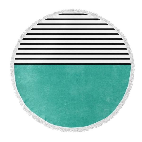 "Kavka Designs Teal Sunshine Teal/ Black/ White 60""X60"" Round Beach Towel"
