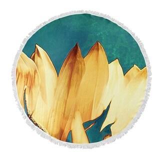 "Kavka Designs Sunflower Yellow/ Blue/ Green 60""X60"" Round Beach Towel"