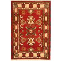 Handmade Herat Oriental Indo Tribal Kazak Wool Rug (India) - 2'2 x 3'