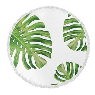 "Kavka Designs Side Palms Green/ White 60""X60"" Round Beach Towel"