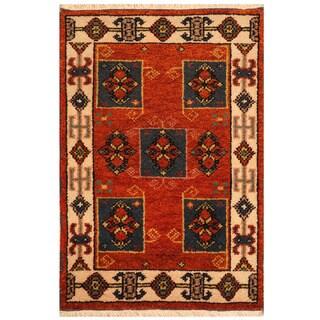 Handmade Herat Oriental Indo Tribal Kazak Wool Rug (India) - 2' x 3'