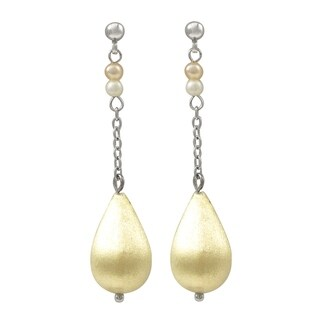 Luxiro Gold Finish with Freshwater Pearls Dangle Earrings