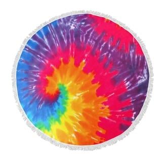 "Kavka Designs Okeanos Yellow/ Orange/ Pink/ Purple/ Blue 60""X60"" Round Beach Towel"