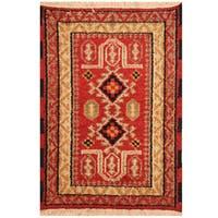 Herat Oriental Indo Hand-knotted Tribal Kazak Wool Rug (2'1 x 2'10)