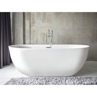 Pacific Collection Neptune White 59-inch x 28-inch Oval Soaking Bathtub