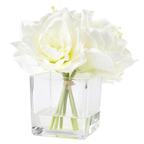 Pure Garden Lily Floral Arrangement with Glass Vase - Cream (As Is Item)