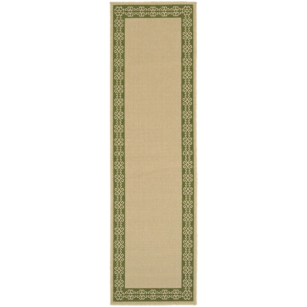 Style Haven Scrollwork Border Beige Indoor/ Outdoor Runner Rug - 2'3 x 7'6