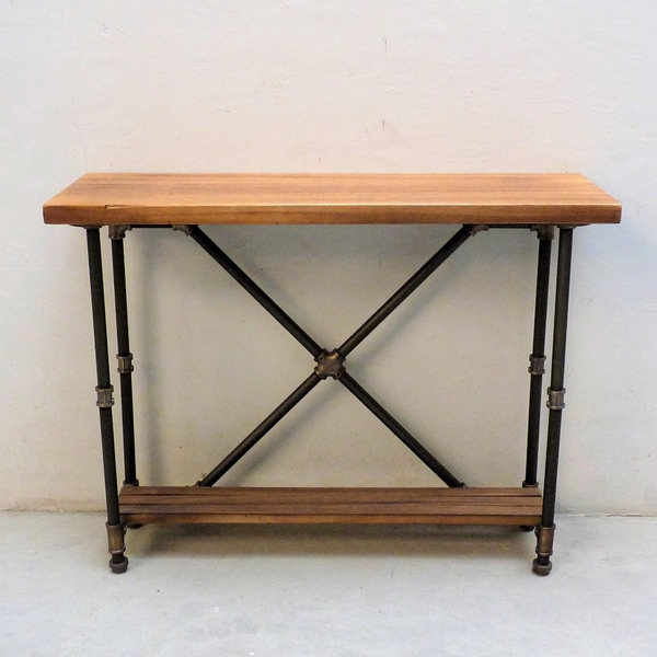 Houston Industrial Vintage Metal And Reclaimed Aged Wood Finish 2 Tier Pipe Hall  Table
