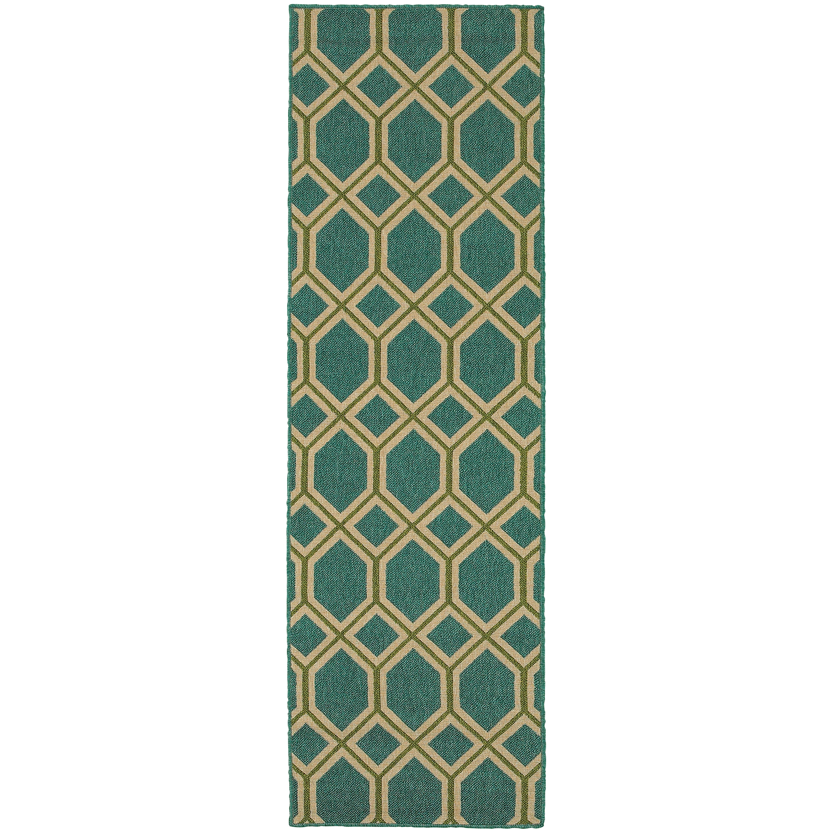 Style Haven Geometric Lattice Teal (Blue)/Green Indoor/Ou...
