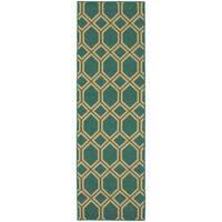 Style Haven Geometric Lattice Teal/Green Indoor/Outdoor Runner Rug - 2'3 x 7'6