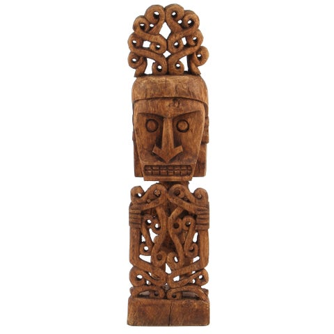 Handmade Primitive African Tribal Man Statue with Ceremonial Headdress, 25 Inches Tall (Bali)