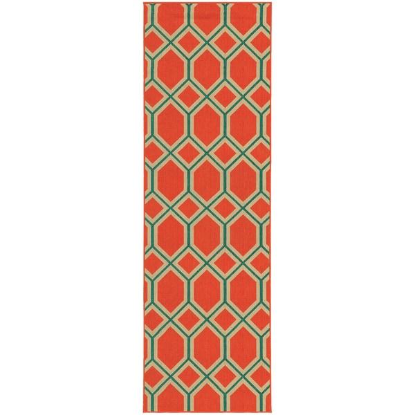 Style Haven Geometric Lattice Orange/Teal Indoor/Outdoor Runner Rug (2'3 x 7'6) - 2'3 x 7'6