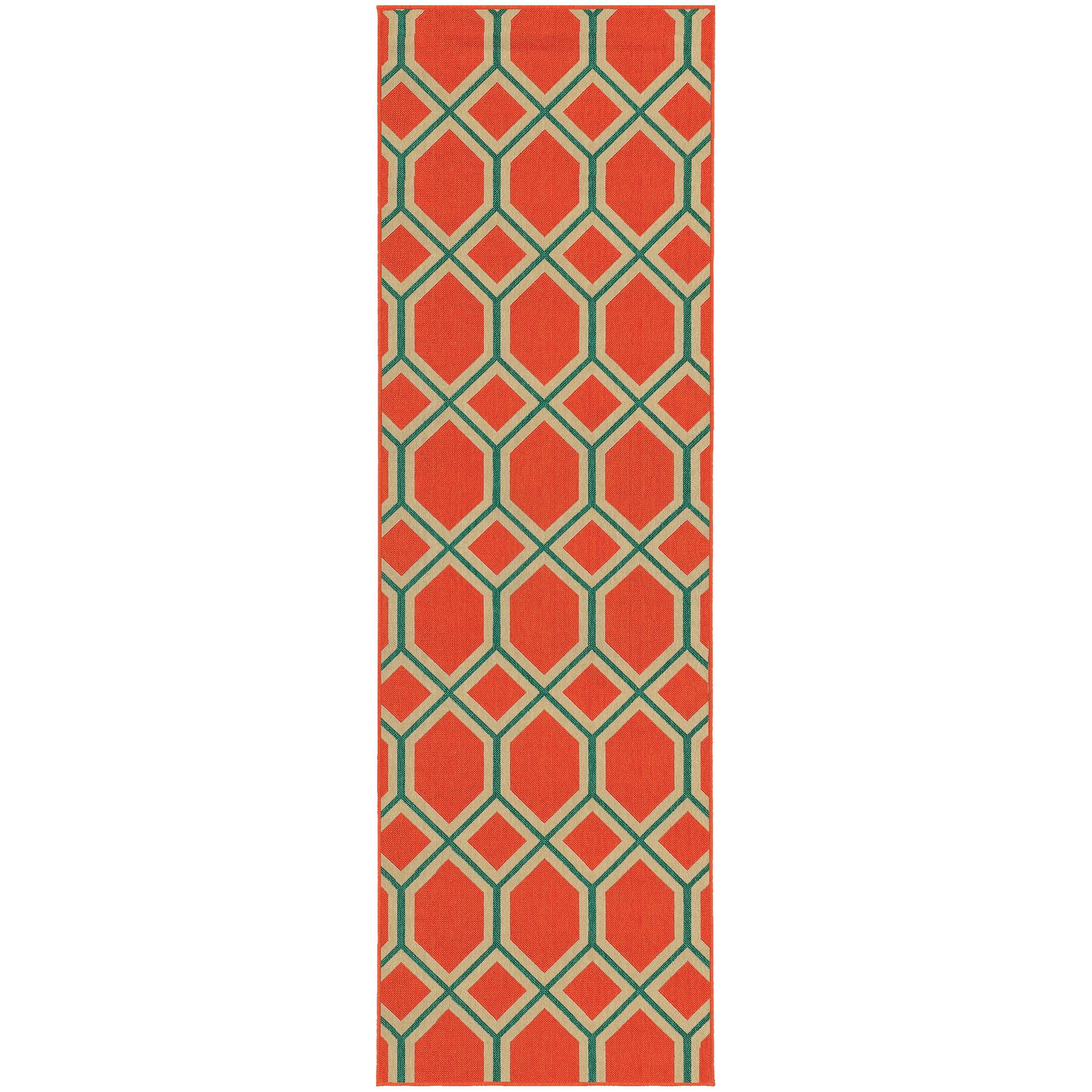 Style Haven Geometric Lattice Orange/Teal Indoor/Outdoor ...