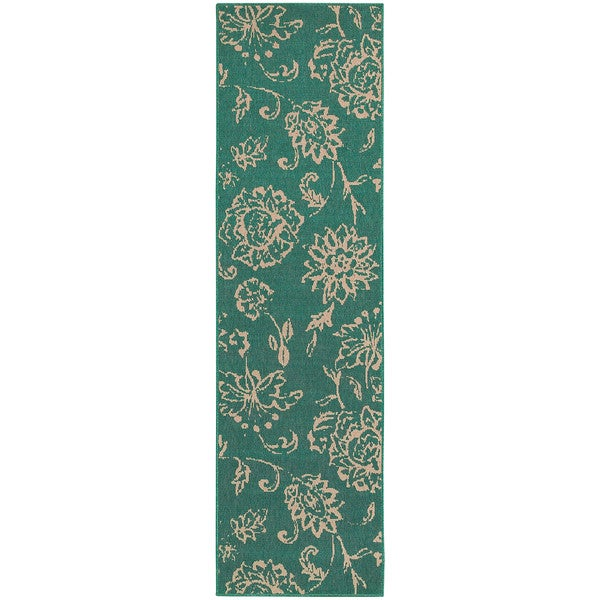 Style Haven Floral Impressions Teal Indoor/Outdoor Runner Rug (2'3 x 7'6)