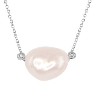 """Sterling Silver 16+2"""" with 15mm Irregular Oval Cultured Freshwater Pink Pearl Bead Pendant Necklace"""