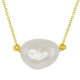 "Sterling Silver 16+2"" Gold Plated with 15mm Irregular Oval Cultured Freshwater White Pearl Bead Pendant Necklace"