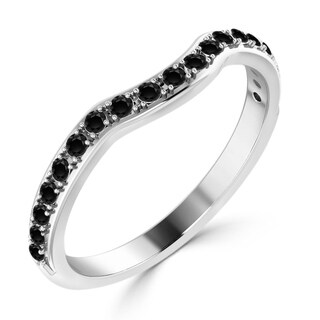 Auriya 10K Gold 1/4ct TDW Black Diamond Contoured Stackable Wedding Band