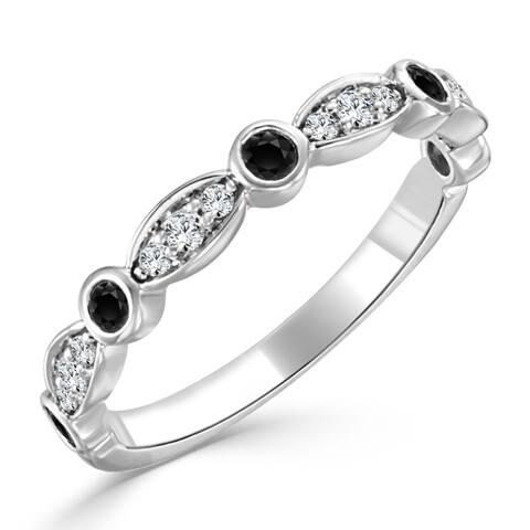 Auriya 10k Gold 1/5ctw Scalloped Black and White Diamond Wedding Band