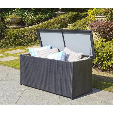"Safavieh Outdoor Cosima 53-Inch 13 Gallon Black Storage Box - 53"" x 20.5"" x 25"""